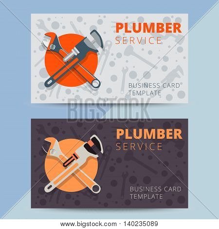Set of professional plumbing service business card templates. Vector plumber or handyman background design for flyer poster or banner