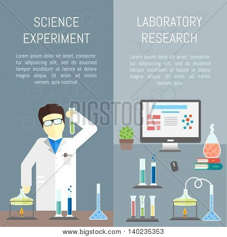 Flat design chemistry concept with chemistry man. Chemistry laboratory. Chemistry test. Chemistry experiment. Children are studying and working in chemistry lab. Isolated chemistry. Chemistry fun. Chemistry concept. Chemistry lesson. Medical test.