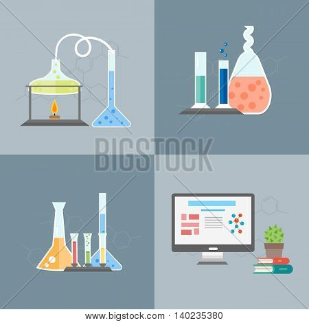 Flat design chemistry lab concept with chemistry equipment. Chemistry laboratory. Chemistry test. Chemistry experiment. Chemistry lab elements. Isolated chemistry. Chemistry icon and chemistry symbol. Chemistry concept. Chemistry lesson. Medical test.