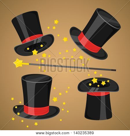 Magic hat and magic wand with sparkles wizard trick concept vector illustration. Magic hat and magic wand with stars. Cartoon magic hat set. Black vector magic hat on brown background. Magic hat set.
