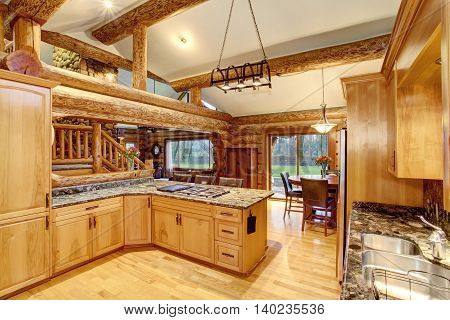 Log Cabin Kitchen Interior Design With Honey Color Cabinets.