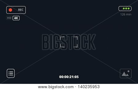 Video or photo camera viewfinder recording interface. Vector focusing screen illustration