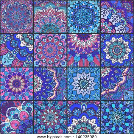 Boho tile set and seamless pattern. Blue pink patchwork fabric, furniture print, wallpaper, fashionable textile. Square design elements. Unusual flower ornament. Vector oriental mandala background.