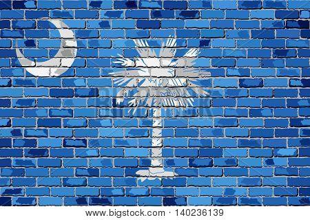 Flag of South Carolina on a brick wall - Illustration,  The flag of the state of South Carolina on brick textured background,  South Carolina flag in brick style