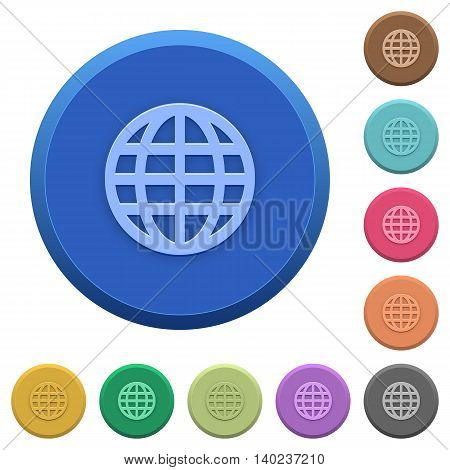 Set of round color embossed globe buttons