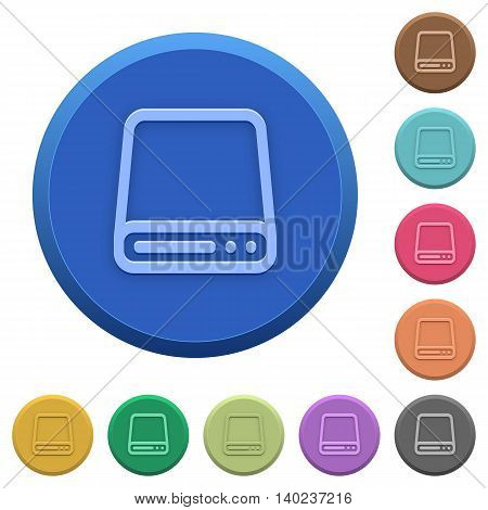 Set of round color embossed hard disk drive buttons