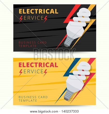 Set of professional electrician business card template. Vector electrical services engineer background design for poster flyer banner etc.