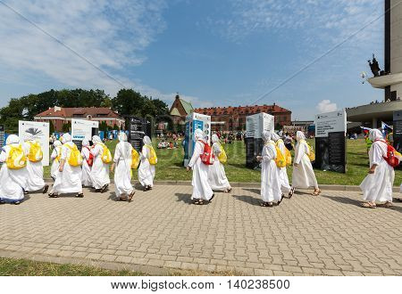 CRACOW POLAND - JULY 26 2016: World Youth Day 2016 - Missionaries of Charity in the Sanctuary of Divine Mercy in Lagiewniki. Cracow Poland