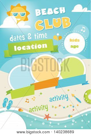 Beach Club or Camp for Kids. Summer and Beach Poster Vector Template