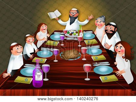 A cartoon illustration of a happy Jewish family seated at the table as they celebrate the feast of Passover.