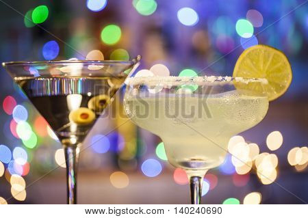Glasses Of Margarita And Martini Cocktails