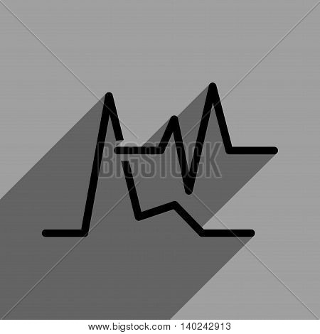 ECG long shadow vector icon. Style is a flat ecg black iconic symbol on a gray square background with longshadow.