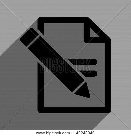 Edit Records long shadow vector icon. Style is a flat edit records black iconic symbol on a gray square background with longshadow.