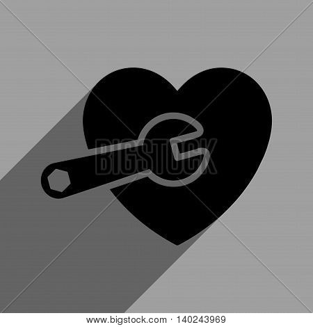Heart Surgery long shadow vector icon. Style is a flat heart surgery black iconic symbol on a gray square background with longshadow.