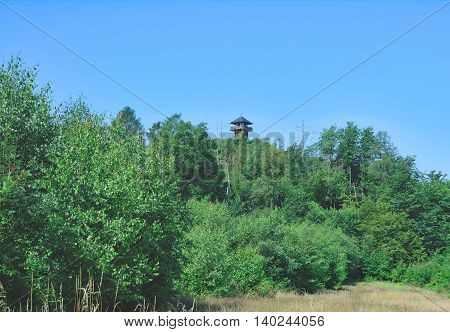View to Limes Tower of Arzbach in Westerwald,Rhineland-Palatinate,Germany