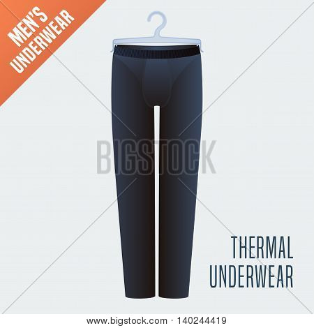 Men's underwear, pants vector illustration. Design element, clothing detail for thermal male underwear model for poster, flyer, display in retail, store