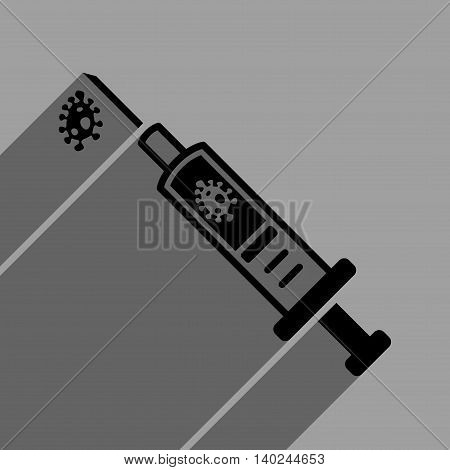 Infection Injection long shadow vector icon. Style is a flat infection injection black iconic symbol on a gray square background with longshadow.