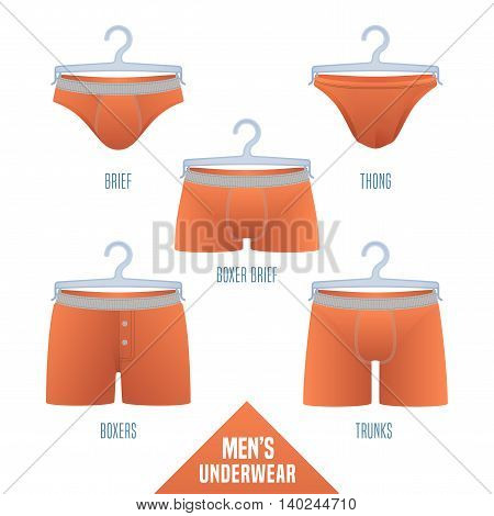 Men's underwear collection vector illustration. Set, design elements of different models of male underwear - boxers, slip, boxer brief, bikini, trunks, thong for retail, shop, poster, flyer