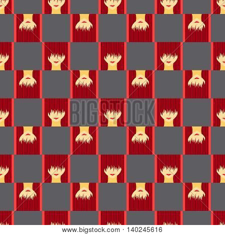 Colorful stylized girl with face covered long bangs. Noface woman seamless pattern.