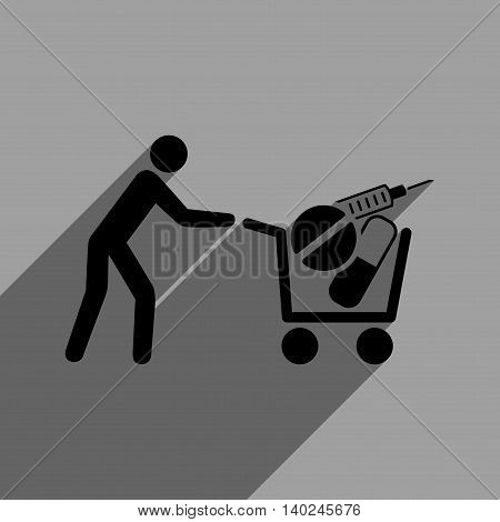 Medical Shopping Cart long shadow vector icon. Style is a flat medical shopping cart black iconic symbol on a gray square background with longshadow.