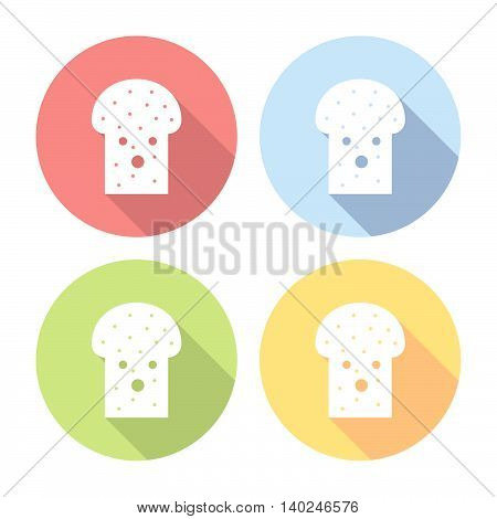 Toast For Breakfast Flat Icons Set