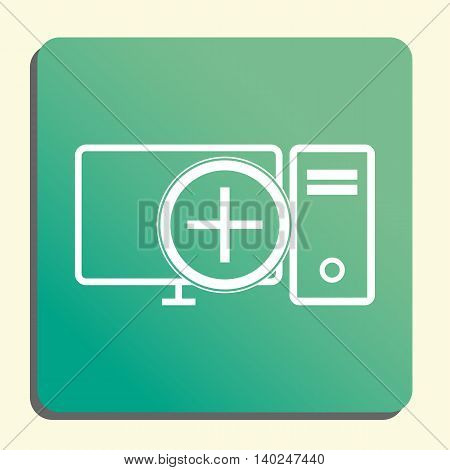 Pc Add Icon In Vector Format. Premium Quality Pc Add Symbol. Web Graphic Pc Add Sign On Green Light