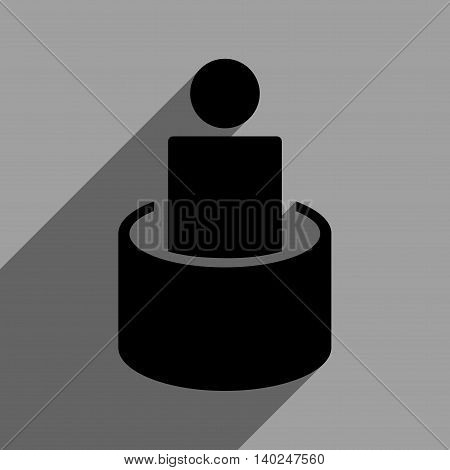 Patient Isolation long shadow vector icon. Style is a flat patient isolation black iconic symbol on a gray square background with longshadow.