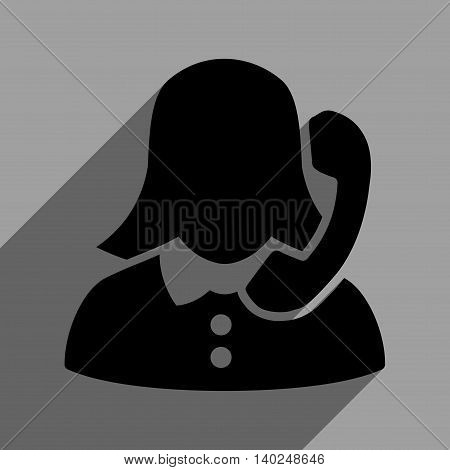 Phone Operator long shadow vector icon. Style is a flat phone operator black iconic symbol on a gray square background with longshadow.