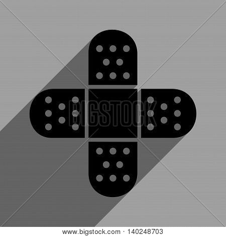 Plaster Cross long shadow vector icon. Style is a flat plaster cross black iconic symbol on a gray square background with longshadow.