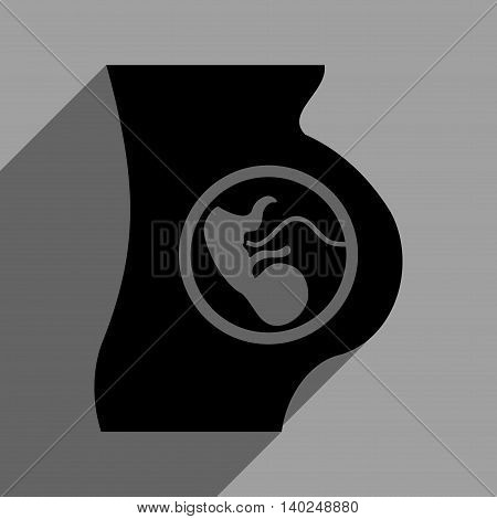 Pregnancy Anatomy long shadow vector icon. Style is a flat pregnancy anatomy black iconic symbol on a gray square background with longshadow.
