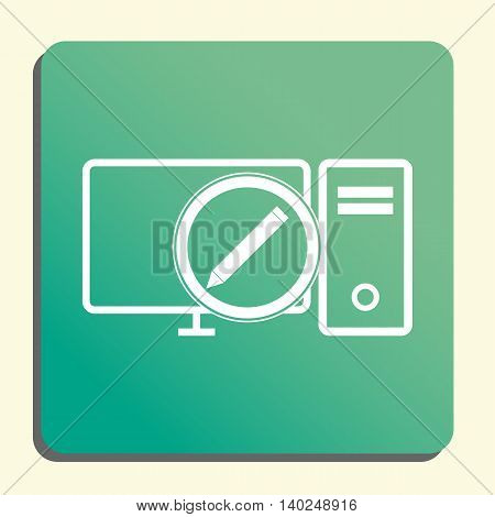 Pc Edit Icon In Vector Format. Premium Quality Pc Edit Symbol. Web Graphic Pc Edit Sign On Green Lig