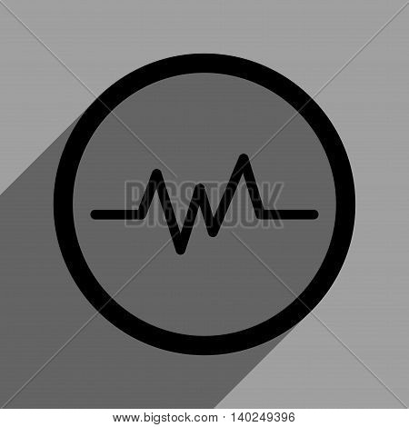 Pulse Monitoring long shadow vector icon. Style is a flat pulse monitoring black iconic symbol on a gray square background with longshadow.