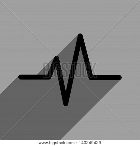 Pulse long shadow vector icon. Style is a flat pulse black iconic symbol on a gray square background with longshadow.