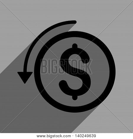 Refund long shadow vector icon. Style is a flat refund black iconic symbol on a gray square background with longshadow.