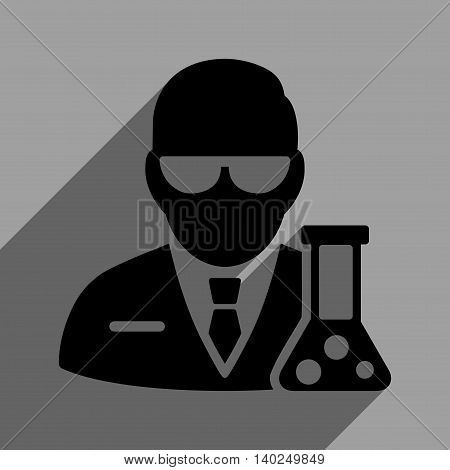 Scientist With Flask long shadow vector icon. Style is a flat scientist with flask black iconic symbol on a gray square background with longshadow.