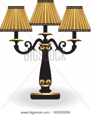 Baroque Elegant lamp with ornaments. Vector Elegant Royal Baroque Style Wall lamp