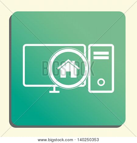 Pc Home Icon In Vector Format. Premium Quality Pc Home Symbol. Web Graphic Pc Home Sign On Green Lig