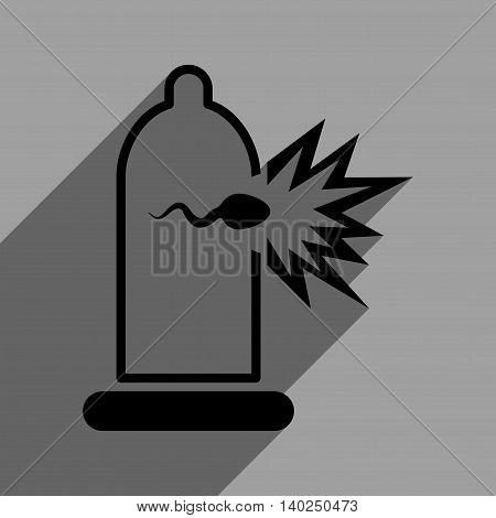 Sperm Escape from Condom long shadow vector icon. Style is a flat sperm escape from condom black iconic symbol on a gray square background with longshadow.