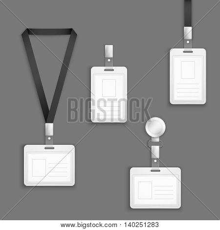 Identification white blank plastic id cards vector set. Plastic card for identification with photo. Illustration empty clip card for pass poster