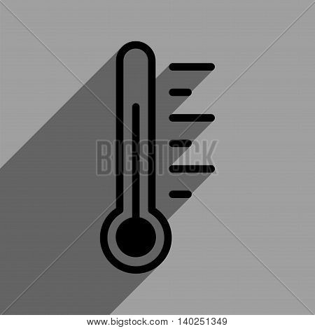 Temperature Level long shadow vector icon. Style is a flat temperature level black iconic symbol on a gray square background with longshadow.