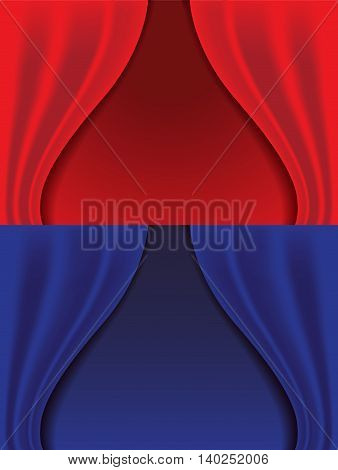 red and blue curtains isolated background vector illustration