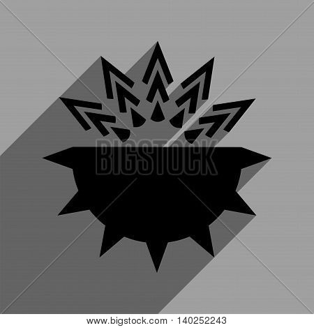 Viral Structure long shadow vector icon. Style is a flat viral structure black iconic symbol on a gray square background with longshadow.