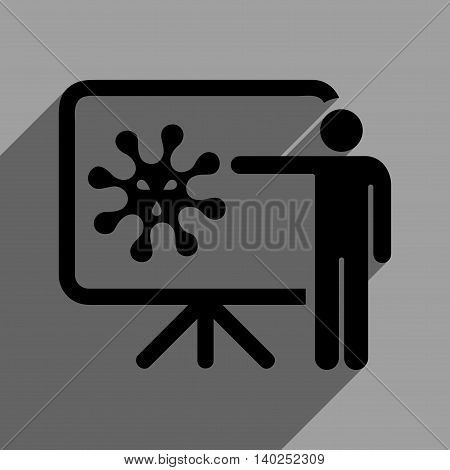 Virus Lecture long shadow vector icon. Style is a flat virus lecture black iconic symbol on a gray square background with longshadow.