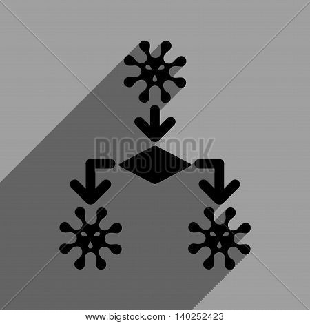 Virus Reproduction long shadow vector icon. Style is a flat virus reproduction black iconic symbol on a gray square background with longshadow.