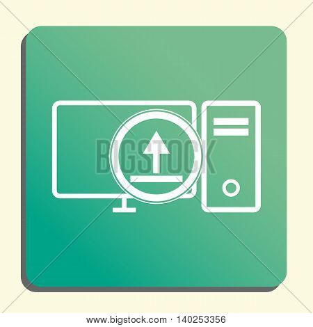 Pc Upload Icon In Vector Format. Premium Quality Pc Upload Symbol. Web Graphic Pc Upload Sign On Gre