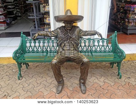 CANCUN MEXICO - OCTOBER 19 2015: Urban sculpture revolutionary national hero on the promenade in Cancun