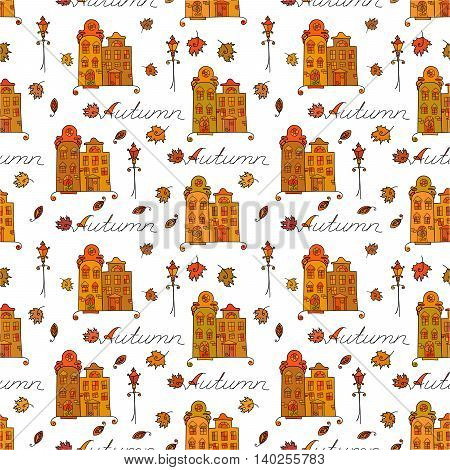 Autumn seamless pattern of houses with varicolored windows, streetlights and falling leaves.