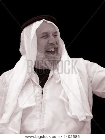 Tinted Portrait Of A Very Happy, Laughing Sheik
