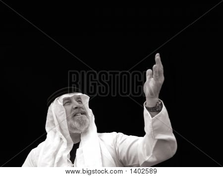 Black And White Portrait - The Sheik Gestures Toward The Heavens