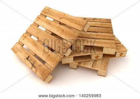 3D illustration of Stack of wooden pallets. Isolated on white background.